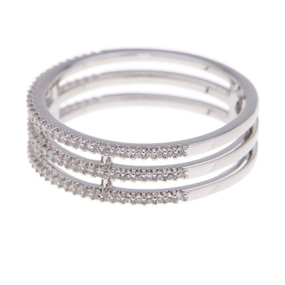 Nadri Jewelry - Nadri Triple Row CZ Rhodium Plated Ring
